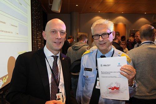 Fagsjef i NHO Runar Karlsen (tv) og visepolitimester i Oslo, Sveinung Sponheim. (Foto. Baard Fiksdal)
